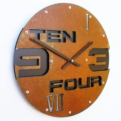 Outnumbered II Modern Wall Clock Rusted w/ Back by All15Designs, $56.00
