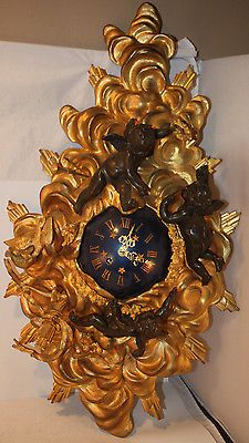 Antique-A-D-Mougin-French-Bronze-Cartel-Wall-Clock-with-Cherubs-Putti-Figures