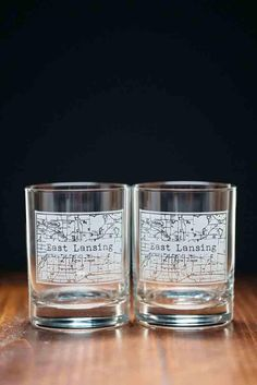 College Town Alumni Etched Map Whiskey Glasses