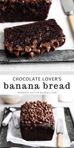 Chocolate Bread Recipe, Tasty Bread Recipe, Best Chocolate Desserts, Chocolate Banana Bread, Chocolate Lovers, Delicious Desserts, Yummy Food, Dessert Bread, Banana Bread Recipes