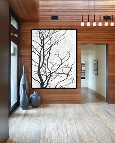 Hand Made Large Acrylic Painting On Canvas, Abstract Art Tree, Modern Painting Clean Looks, Black White Art.