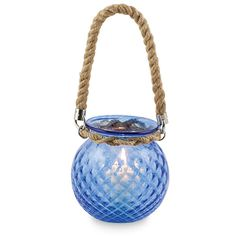 Ball Lanterns with rope handles. - The Textured Range is a collection of single coloured handmade glassware products by Mdina Glass, ranging from lanterns, scented candleholders, vases, bowls, jugs, tumblers and oil & vinegar bottles... and much more. #lanterns #glassware #homedecor #handmadeglass