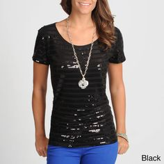 @Overstock - Let your style shine with this fun sequin-striped top from Hanna & Gracie. This trendy top is lined in the front and features rows of black eye-catching sequins.http://www.overstock.com/Clothing-Shoes/Hanna-Gracie-Womens-Black-Sequin-Striped-Top/7549969/product.html?CID=214117 $34.49