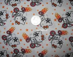 1 Yard Hello Kitty Cotton Fabric Kiss Rock N Roll BTY White With Tricycle And Flames