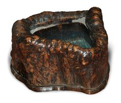 burl wood hibachi with copper liner