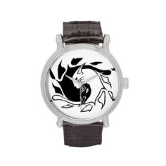 Wild cat watch with black band