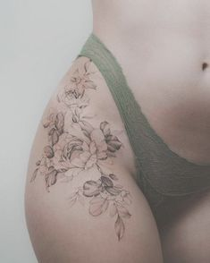 If you are thinking of having some tattoo designs, why not try some sexy tattoo ideas? That is not a bad idea if you think about it. Women are becoming more into the idea of having some tattoos on their bodies, some can do it, but not many. Back Hip Tattoos, Side Thigh Tattoos Women, Hip Thigh Tattoos, Waist Tattoos, Spine Tattoos For Women, Body Tattoos, Tattoo Women, Side Of Thigh Tattoo, Lower Back Tattoo
