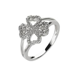 Oxette Silver 925 Ring with zircons - Available here http://www.oxette.gr/kosmimata/daktulidia/silver-ring-clover-white-cz-oxette-593l-1/      #oxette #OXETTEring #jewellery