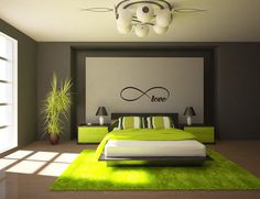 Wall Decoration Living Room Green Brown - Home Decoration Lime Green Bedrooms, Sage Green Bedroom, Living Room Green, Living Room Decor, Bedroom Decor, Bedroom Ideas, Master Bedroom, Clean Bedroom, Gray Bedroom