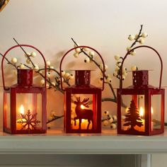 Christmas decorations with lanterns