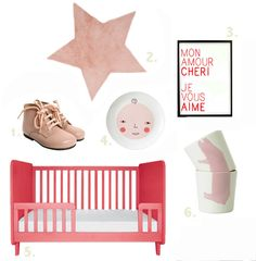 {1. shoes 2. pink star 3. amour poster OMY 4. donna wilson plate 5. baby bed 6. animal cups} Just thought it would be nice to do a color palette today ... I'm really into pink these days and have...