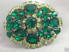 Stunning Vintage Coro Prong Set Green Rhinestone Brooch Pin | eBay