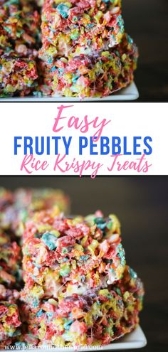 Easy Fruity Pebbles Rice Krispy Treats This is the perfect recipe to get your kids cooking in the kitchen. This Fruity Pebbles Rice Krispy Treat is sweet and only takes minutes to prepare. Brunch, Rice Krispies, Fruity Pebbles Treats, Rice Krispie Treats With Fruity Pebbles Recipe, Recipes With Fruity Pebbles, Fruity Pebble Bars, Rice Krispy Treats Recipe, Butter Rice, Peanut Butter
