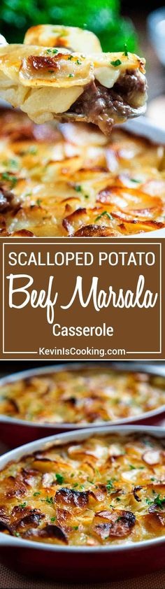 This Beef Marsala and Scalloped Potato Casserole has ground beef in a savory, delicious marsala wine sauce all layered with scalloped, cheesy potatoes. via @keviniscooking