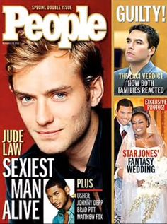What's happening to your looks? Jude Law is not aging all that well, it's okay, it happens. But just a few years ago, Jude Law. Cool Magazine, Life Magazine, Magazine Covers, Patrick Swayze, Pierce Brosnan, Richard Gere, Denzel Washington, Harrison Ford, Blake Shelton
