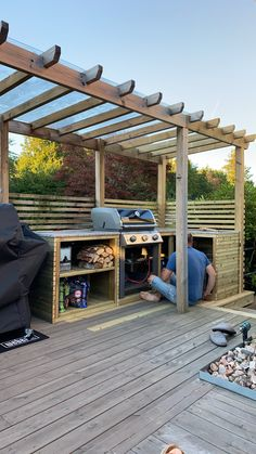 Backyard Seating, Backyard Patio Designs, Outdoor Pergola, Backyard Landscaping, Backyard Pavilion, Outdoor Kitchen Patio, Outdoor Kitchen Design, Outdoor Rooms, Outdoor Barbeque Area