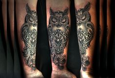 Owl forearm tattoo by Greg Couvillier