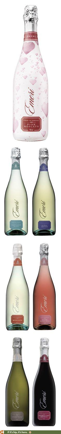 Emeri Sparkling Wines Wine Design, Bottle Design, Label Design, Package Design, Sangria, Cocktail, Pink Drinks, Beverage Packaging, Wine Labels