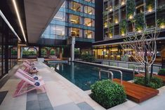 A fantastic add to the Kuala Lumpur hospitality scene, the very en-vogue KLoé Hotel combines a range of styles (tropical modern, industrial chic, mid-century, Scandinavian, steampunk, sleek architecture) into a unique mix. Industrial Chic, Scandinavian, Tropical, Mid Century, Mansions, Scene, House Styles, Architecture, En Vogue