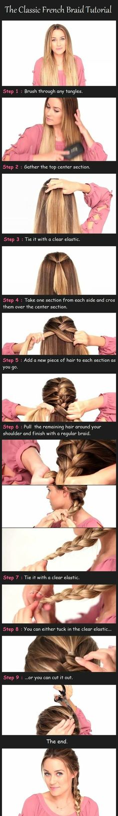 Step by step french braid. Great for my type of #hair.