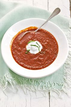 Red-Pepper Soup with Basil Cream