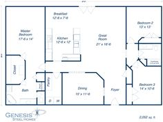 http://genesissteelhomes.com/Portals/0/plans/Reagan.jpg  Omit Dining, shift Pantry to far end of Master, Stairs & entry closet to the left of foyer, Bedroom 3 closet same wall as tub.