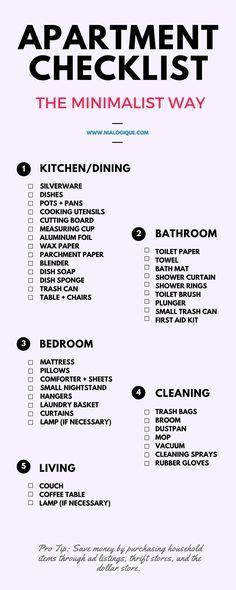 Minimalist Apartment Checklist | Check out this awesome, minimal infographic focusing on all of the essentials for your next rental! Everything from the kitchen and dining room area, to the bathroom, bedroom, living room, and even all of the necessary cleaning supplies.