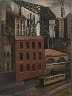 Mario Sironi, Périphérie avec tram et crane, 1921. Technique mixte sur papier entoilé, 98 x 73 cm.
