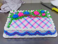 I made this cake today. It is a quarter sheet airbrushed with hand piped roses in blue and pink Square Birthday Cake, Birthday Sheet Cakes, Buttercream Decorating, Cake Decorating Tips, Cookie Decorating, Spring Cake, Summer Cakes, Wedding Sheet Cakes, Sheet Cake Designs