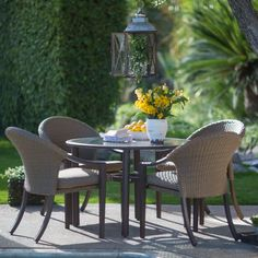 Belham Living Crayton All Weather Wicker Patio Dining Chair and Glass Table Set - Seats 4 - Patio Dining Sets at Hayneedle