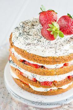 Cake de fresas y semillas de amapola
