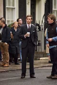 Eddie Redmayne with coffee (My Week with Marilyn). Coffee is a recurring theme with Eddie.