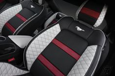 Ford Mustang bespoke leather interior Car Interior Upholstery, Boat Upholstery, Automotive Upholstery, Custom Car Interior, Car Interior Design, Truck Interior, Ford Mustang, Mustang Seats, Bike Seat