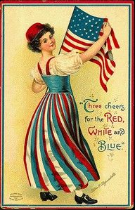 """Three cheers for the Red White Blue."" Victorian Americana post card"