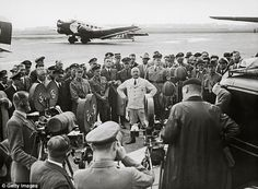 Head of Nazi district Julius Streicher during a speech in front of reporters at the airport Tempelhof. He was the founder and publisher of Der Stürmer newspaper, an important part of the Nazi's propaganda Julius Streicher, Nazi Propaganda, Mans World, World War, Wwii, 1930s, Berlin, Germany, Stock Photos