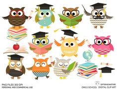 School owls Digital clip art for Personal and Commercial use - INSTANT DOWNLOAD via Etsy