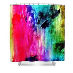 Luxe Splash Shower Curtain by Rachel Maynard. This shower curtain is made from polyester fabric and includes 12 holes at the top of the curtain for simple hanging. The total dimensions of the shower curtain are wide x tall. Shower Curtain Rings, Mixed Media Artwork, Curtains With Rings, Curtains For Sale, Basic Colors, Doodle Art, Color Show, Colorful Backgrounds, Doodles