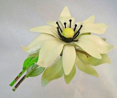 Vintage Flower Brooch Mod Flower Power Creamy White by waalaa, $19.99