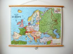"""Pull Down Map Educational Chart Vintage Style Wall Hanging Poster Print with Stained Wood Trim - Map of Europe (24""""x18.5"""")"""