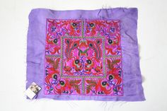 DIY Purple Square Birds Embroidered Fabric Thailand Hmong Textile Fair Trade (TX810-PUS)