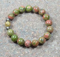 Beaded Stretch Bracelet Semi Precious Green Red by CoralsJewelry