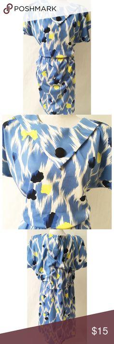 Blue /Yellow Vintage Dress Size 20 Polyester Length46 Bust 48 Elastic waist Vintage Dresses