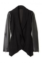 draped jacket with leather sleeves
