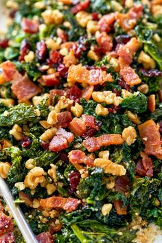 Healthy Sautéed Kale Salad with Bacon, Walnuts and Cranberries - - Not only is this kale salad recipe colorful, but it's flavorful too! - by salads Healthy Sautéed Kale Salad with Bacon, Walnuts and Cranberries Cranberry Salad Recipes, Kale Salad Recipes, Vegetarian Salad Recipes, Salad Recipes For Dinner, Healthy Salads, Healthy Eating, Healthy Recipes, Kale Salads, Cooked Kale Recipes