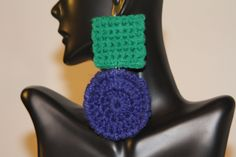 SHIELA Earrings in Green and Blue. $38.50, via Etsy.