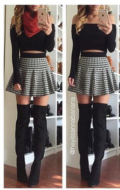 Houndstooth Flared Skirt