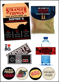 Stranger things party printables w/ editable! Stranger Things Theme, Stranger Things Halloween, Stranger Things Aesthetic, Stranger Things Funny, Eleven Stranger Things, 13th Birthday Parties, Birthday Party For Teens, 11th Birthday, Birthday Goals