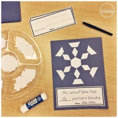 A Pinch of Kinder: Can you make a snowflake with pattern blocks? How many pattern blocks did you use? Combining creativity, shape identification, correspondence and numeral formation into one activity! Winter Activities, Kindergarten Activities, Preschool Activities, 2d Shapes Kindergarten, Montessori, Winter Thema, Firework Painting, How To Make Snowflakes, Snow Theme