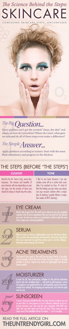 "The Science Behind the Steps: Skincare - Every product can't get the coveted ""clean, dry skin"" real estate, so how do I prioritize? Where do I start, what goes on next and do all of these steps even make a difference?  The Untrendy Girl 