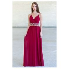 Jewel of Your Heart Embellished Maxi Dress in Burgundy ($48) ❤ liked on Polyvore featuring dresses, purple party dresses, maxi dresses, burgundy maxi dress, formal dresses and party dresses